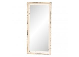 Velké nástěnné zrcadlo v bílém rámu s patinou - 41*3*135 cm