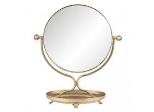 Stolní vintage zrcadlo v bronzovém rámu s podstavcem - 36*15*43 cm