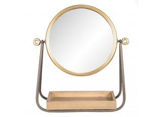 Stolní zrcadlo s dřevěnou poličkou - 40*14*42 cm