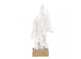 Dekorace s kovovým jelenem a stromy - 13*8*28 cm