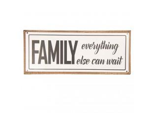 Kovová cedule s dřevěným rámem Family - 39*16 cm