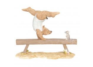 Dekorace Medvěd cvičící gymnastiku - 18*6*15 cm