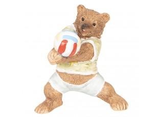 Dekorace Medvěd hrající volejbal - 9*7*10 cm