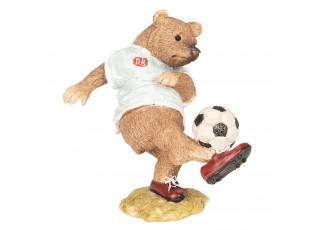 Dekorace Medvěd hrající fotbal - 10*6*10 cm