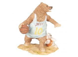 Dekorace Medvěd hrající basketbal - 14*11*15 cm