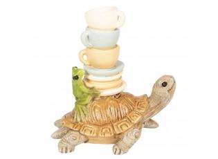 Dekorace Želva s žábou - 8*6*9 cm