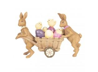 Dekorace králíci s vozíkem - 21*6*14 cm