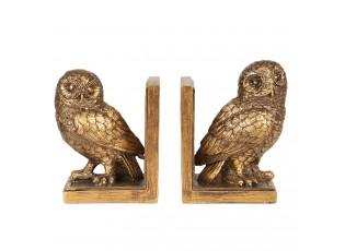Zlaté zarážky na knihy sovy - 12*8*16 cm