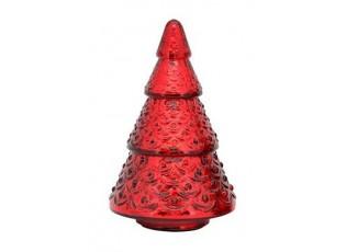 Červený skleněný svítící stromek- Ø 16*20cm