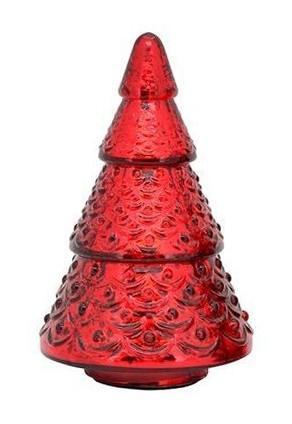 Červený skleněný svítící stromek- Ø 13*20cm