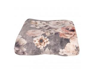 Šedý plyšový pléd /přehoz s květy Vintage - 130*170 cm