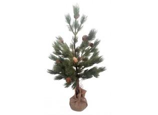 Zelený stromek se šiškami v jutě - Ø 33*60cm
