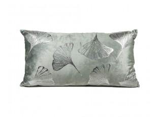 Šedo - mintový sametový polštář Ginkgo mint - 65*35cm