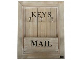Přírodní dřevěný věšák na klíče a poštu - 33*6*41cm