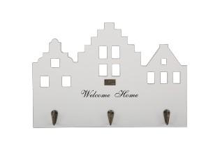 Bílý dřevěný věšák domek na klíče Welcome Home  - 39*26,5cm