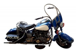 Velký kovový modrý retro model motorky Police - 37*11*22 cm