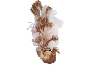 Zlato-růžová třpytivá ozdoba páv s peříčky  - 8*20 cm
