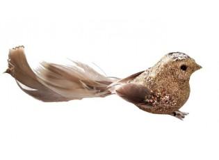 Zlatá třpytivá ozdoba ptáček s peříčky  - 4*14 cm - sada 6ks