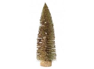 Zlatý třpytivý vánoční stromeček - 27 cm