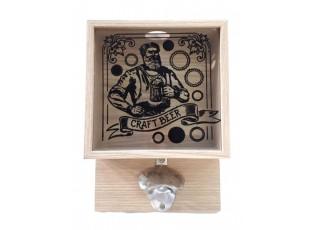 Nástěnná dřevěná skříňka na zátky s otvírákem Beer - 18*7,5*25,5cm