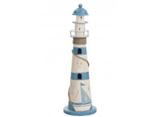 Dekorace dřevěný modro-bílý maják - Ø13,5*44 cm