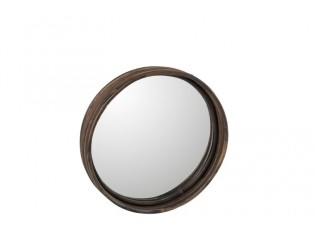 Hnědé kulaté ratanové zrcadlo- Ø30*5cm