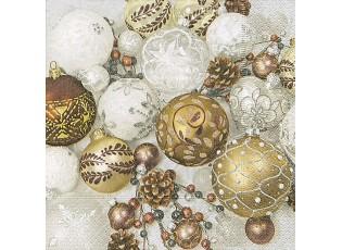 Vánoční papírové ubrousky  Shiny baubies - 33*33 cm (20)