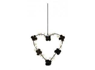 Závěsné černé kovové srdce s perličkami a růžemi - 13*2*13cm