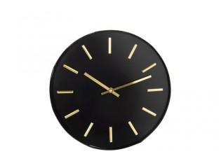 Černé kovové hodiny se zlatými ručičkami Velvet - Ø 31*3,5cm