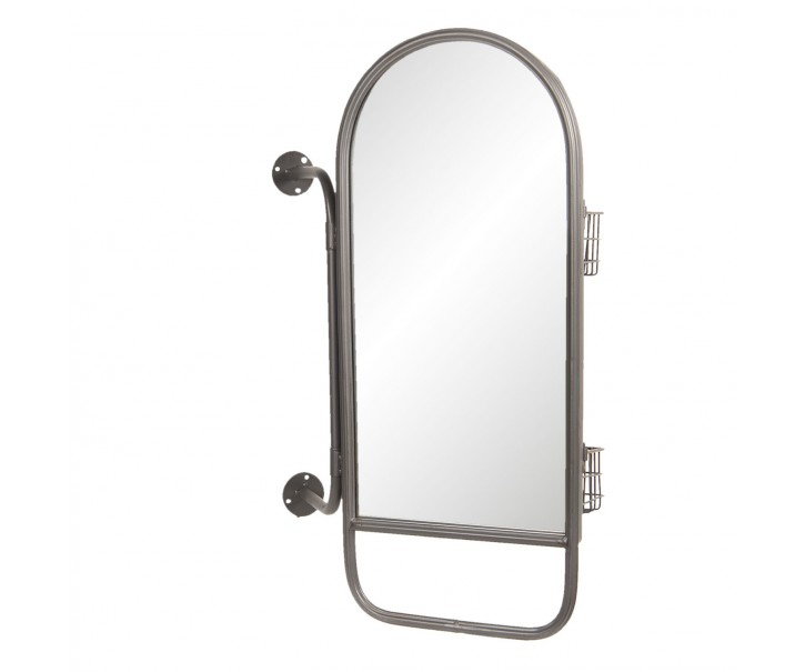 Nástěnné zrcadlo s drátěnými košíky Margot - 40*14*62 cm