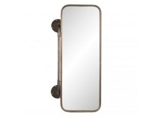 Hnědé nástěnné retro zrcadlo s košíky - 48*21*80 cm