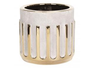 Betonový květináč se zlatým dekorem Dasy - Ø 17*16 cm