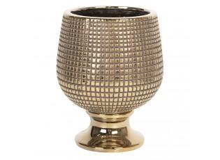 Zlatý obal na květináč na noze Dolores - Ø17*21 cm