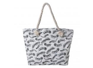 Plážová  taška s peříčky a provazovými uchy - 43*33 cm