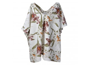 Bílá tunika s barevnými květy - uni velikost