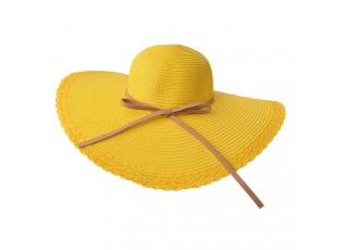 Žlutý klobouk s hnědou úzkou mašlí - Ø 58 cm