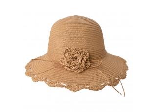 Béžový dámský klobouk s květinou - Ø58 cm