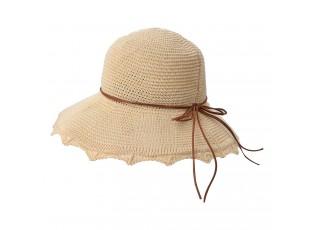 Světle hnědý háčkovaný klobouk s kůží - Ø 58 cm