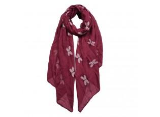 Vínový šátek s vážkami - 70*180 cm
