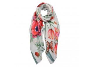 Barevný šátek s květy - 70*180 cm
