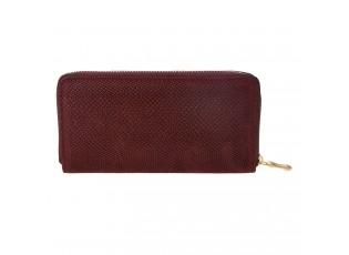 Bordová peněženka se vzrorem a zlatým zipem - 19*10 cm