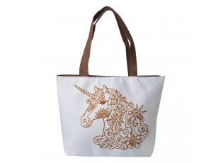 Bílá látková taška s jednorožcem - 37*50 cm