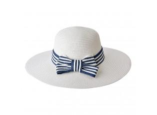 Bílý klobouk s modro bílou mašlí - Ø 58 cm