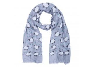 Šedý šátek s bílými ovečkami - 70*180 cm