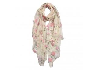 Krémový šátek s růžovými květy - 70*180 cm
