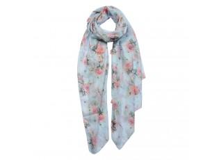 Modrý šátek s růžemi - 70*180 cm