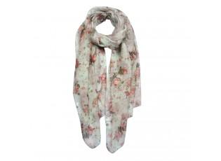 Béžový šátek s růžemi - 70*180 cm