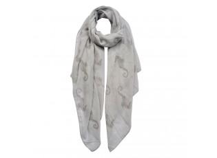 Světle šedivý šátek s mořskými koníky - 70*180 cm