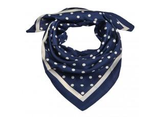 Modro bílý puntíkatý šátek - 90*90 cm