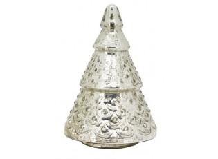 Sříbrný skleněný svítící stromek- Ø 16*20cm